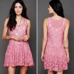 Free People FP One Sheer Floral Lace Slip Dress